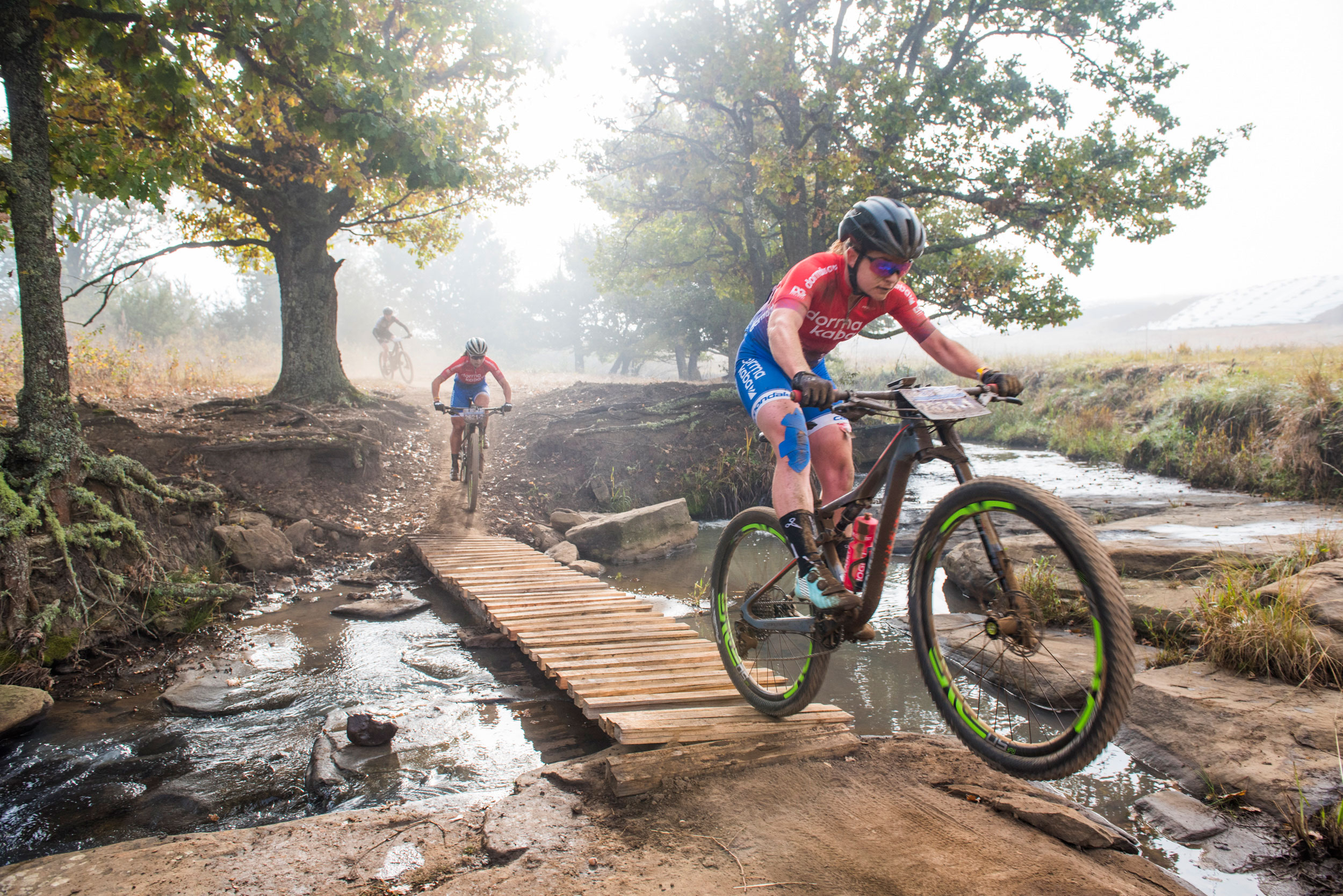 dormakaba's Amy McDougall (front) and Samantha Sanders (second) blitzed through the track to take the women's stage honours on the first stage of the Race at the KAP sani2c on Thursday.