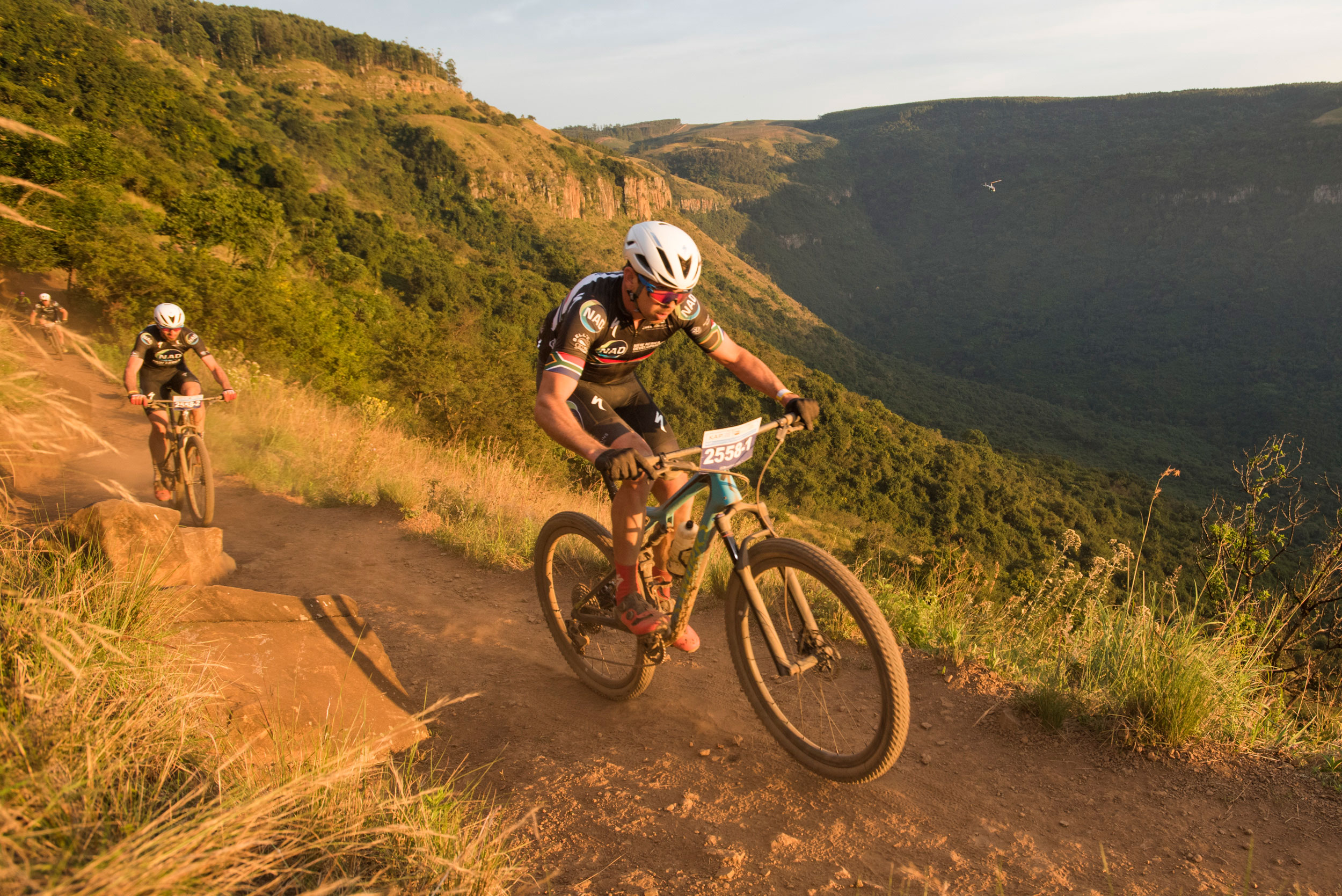 Team NAD 1's Nico Bell (front) and Matt Beers (back) consolidated their overnight advantage with a second stage victory on stage two of the 2018 KAP sani2c's Race from Mackenzie Club to Jolivet on Friday.